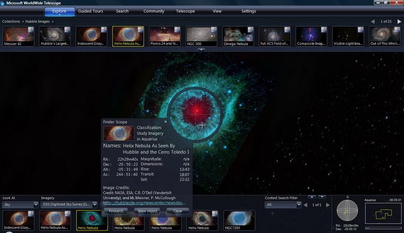 برنامج مشاهدة الكون والفضاء الخارجي WorldWide Telescope بوابة 2016 2.jpg
