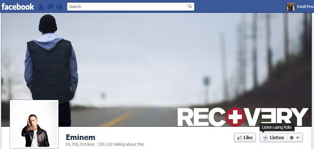 """eminem facebook page listen الفيس بوك يضيف زر"""" إستمع """" لصفحات الفنانين والموسيقيين"""