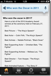 Who won the Oscar in 2011