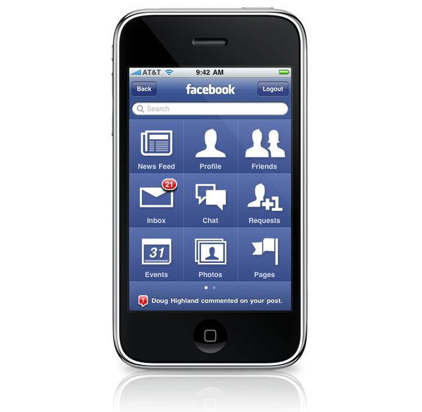 فيس بوك يعمل على تحديث تطبيقه على الايفون