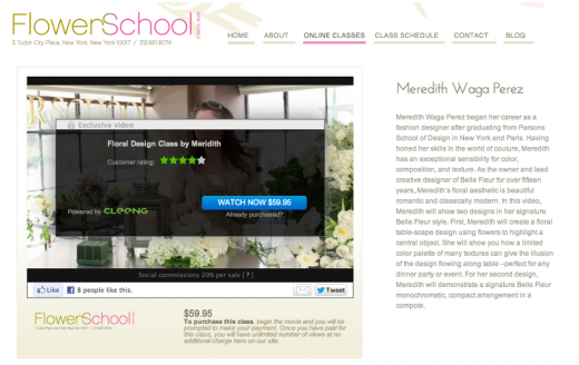 flowerschool cleeng example 520x328  Cleeng Play يسمح لك ببيع مقاطع الفيديو على Vimeo
