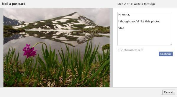 Postcard الفيس بوك يتيح لك إرسال الصور في شكل بطاقات بريدية حقيقية