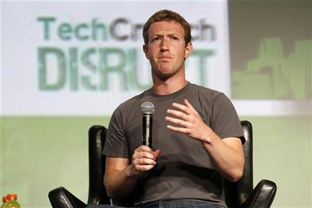 Facebook CEO Mark Zuckerberg speaks during a question and answer session at the TechCrunch Disrupt conference in San Francisco
