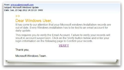 رسائل مزيفة لتحديث الويندوز تسرق