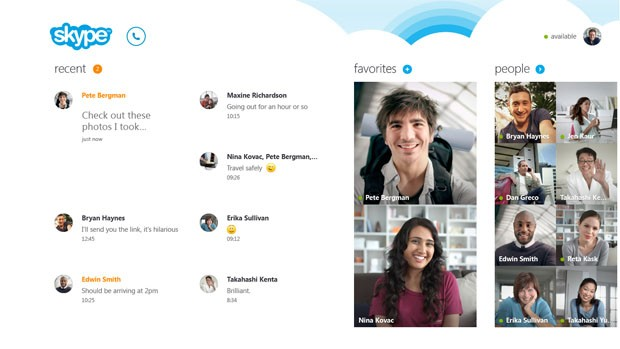 skype for windows 8 home screen 620 wide مايكروسوفت تكشف عن سكايب لويندوز 8