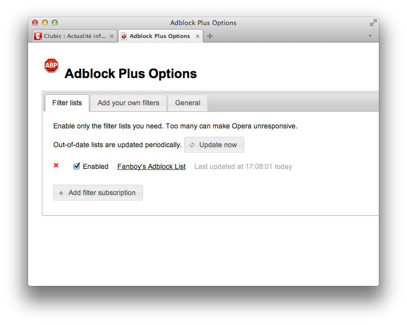 إضافة Adblock Plus لمتصفح أوبرا