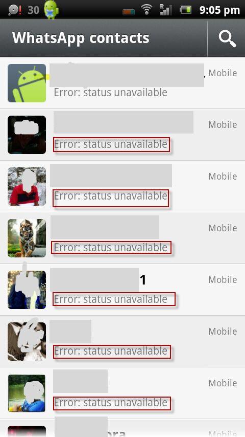 مشكلة الواتس تظهر حالات المستخدمين