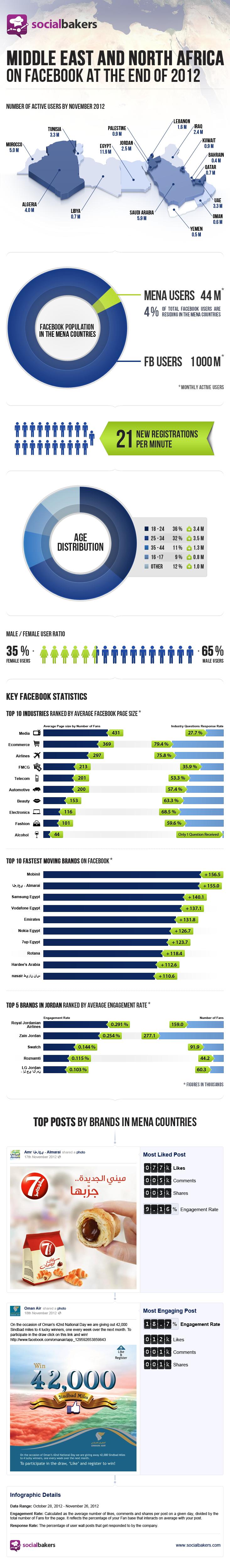 الإحصائيات الخاصة بالفيس لعام 2012
