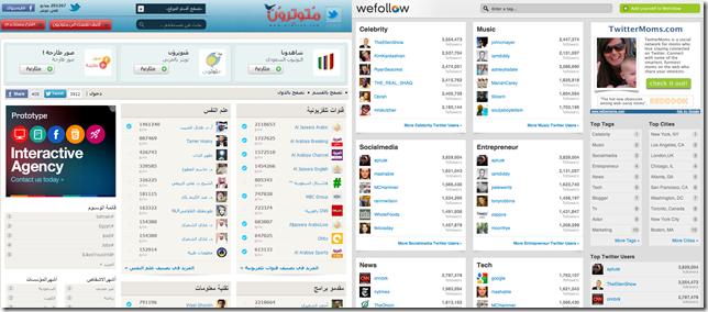 الإستنساخ والتشابه الكبير بين موقع WeFollow.com و Mtwtron.com في المضمون والمظهر