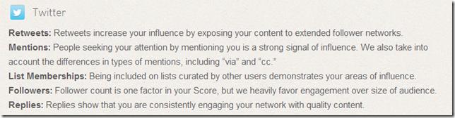 المؤشرات التي يتم من خلالها معالجة Klout Score فيما يتعلق بتويتر