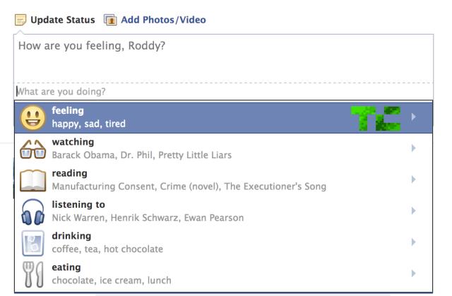 فيس بوك يختبر ميزه تحديث الحالة المزاجية على الشبكه