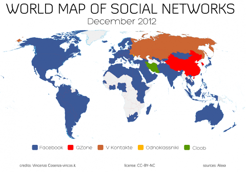 social network world map
