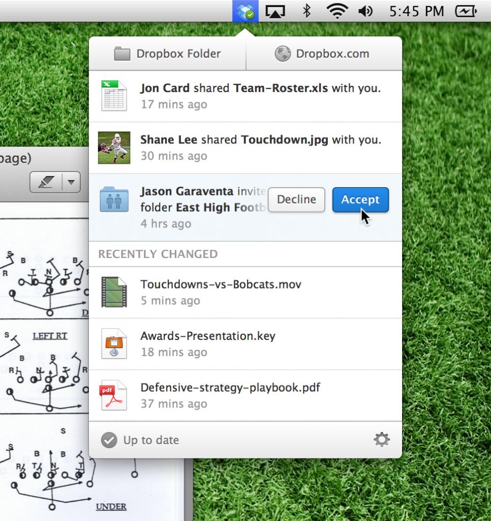 dropbox menu mac