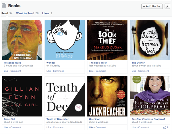 facebook timeline  books