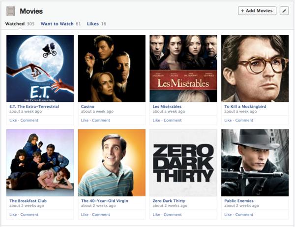 facebook timeline  movies
