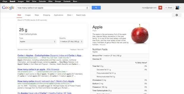 google search nutrition Google adds detailed information on nutrition in the search engine