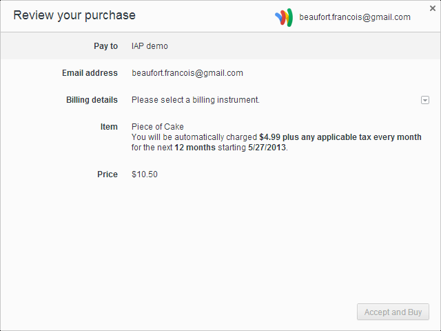 google wallet in-app payment