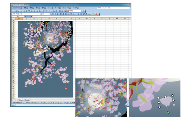 An old painting excel Japanese creates paintings on Excel