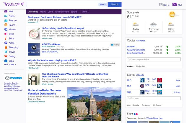 Yahoo yahoo twitter homepage will display Tweets from Twitter in the Home