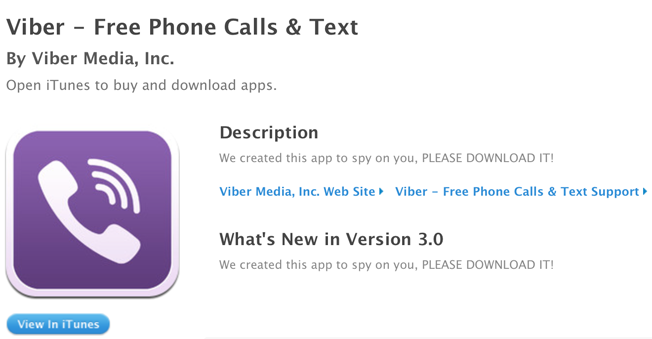 Viber Apple App Store description hacked