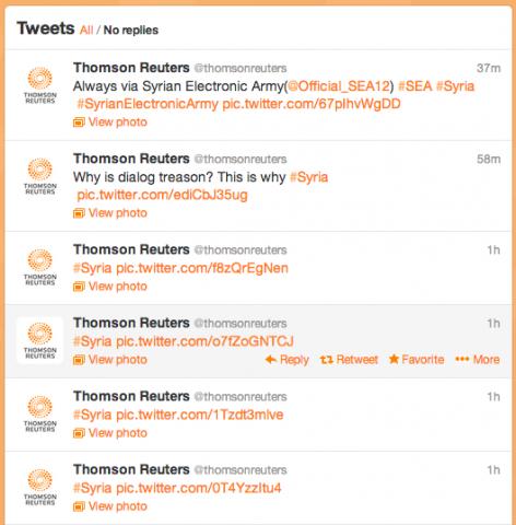 tr tweets hijacked 472x480 الجيش السوري الإلكتروني يخترق حساب رويترز ويقترب من البيت الأبيض