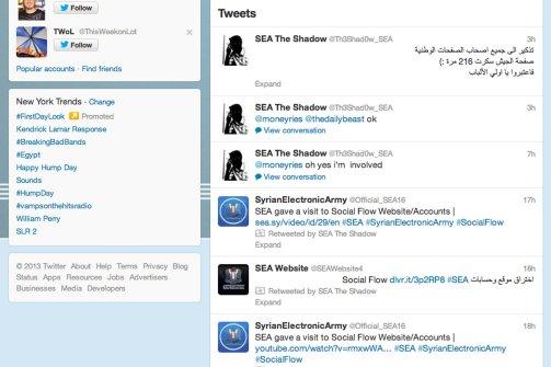 تهديد من أحد أعضاء الجيش السوري الإلكتروني على تويتر