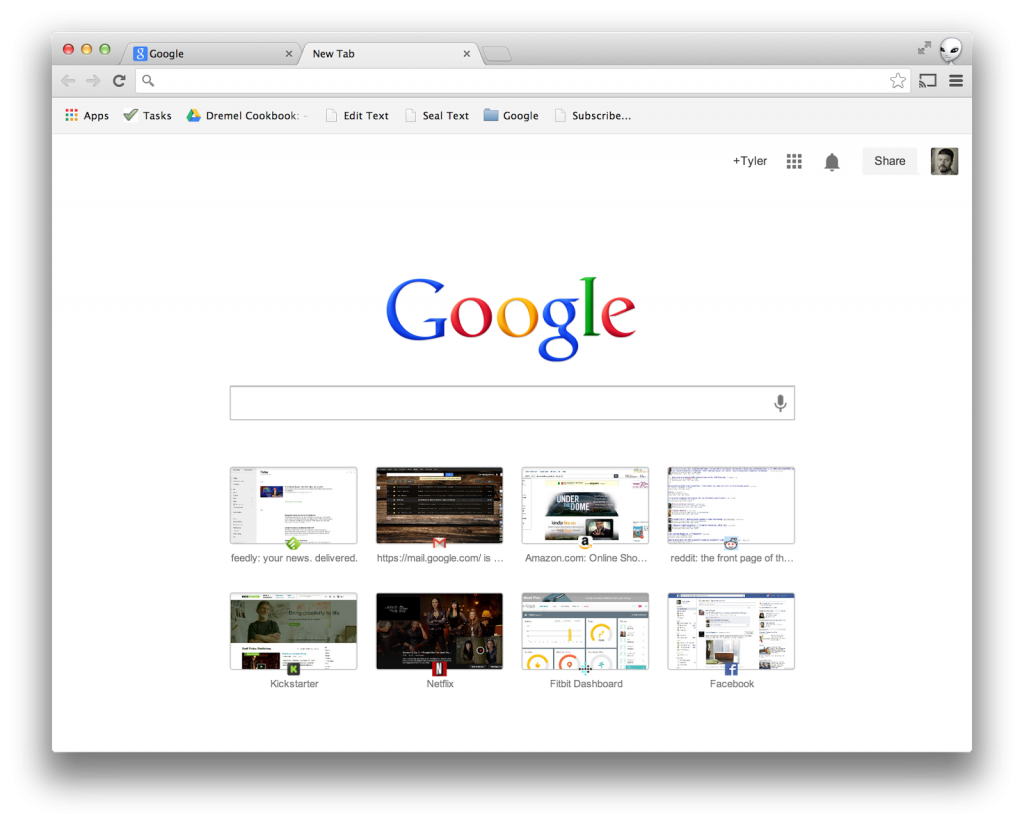 search box in 'new tab'