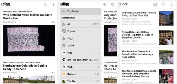 Digg Reader screenshots 610x291 Digg تقوم بإطلاق تطبيقها لمستخدمي أندرويد