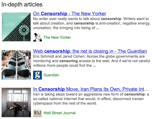 great in-depth articles on Google
