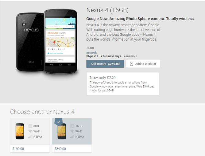 nexus 4 قوقل تخفض سعر نيكسوس 4 بـ 100 دولار