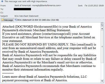 """إشعار مزيف لخداع المستخدم أنه من بنك """"Bank of America"""""""