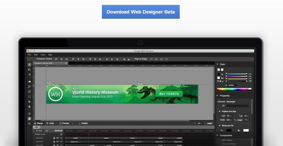 تحميل برنامج google web designer الجديد من جوجل لتصميم البنرات الإعلانية بتقنيات الويب html, css ,...