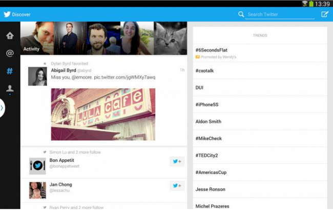 تويتر على جهاز أندرويد اللوحي جالاكسي نوت 10.1