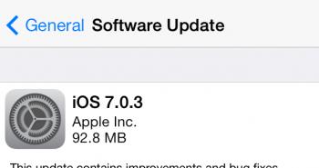 ابل تطلق تحديث iOS 7.0.3