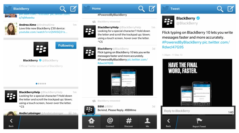 تطبيق تويتر بلاك بيري يُدرج