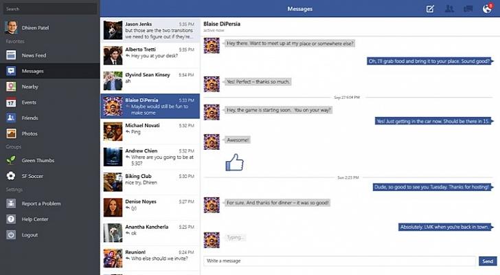 فيس بوك على ويندوز 8.1