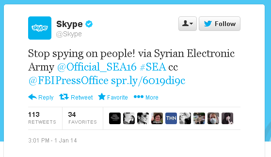 سكايب 2 الجيش السوري الإلكتروني يخترق مدونة سكايب وحساباته الاجتماعية!