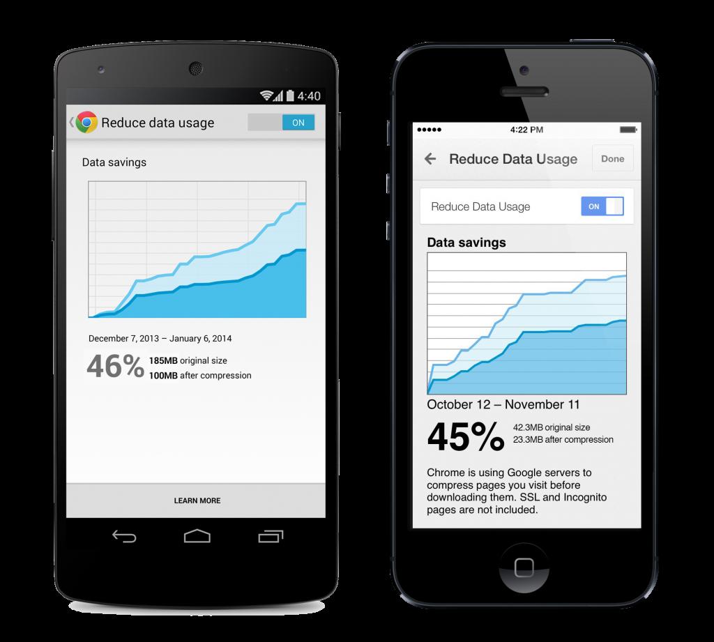 datasavingsduo v3 1024x921 تحديث كروم على الأجهزة الذكية سيوفر 50% من استهلاك البيانات