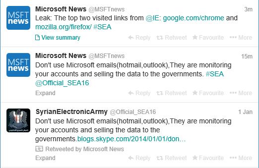 g الجيش السوري الإلكتروني يستهدف مايكروسوفت مجددًا ويخترق حساب أخبارها على تويتر