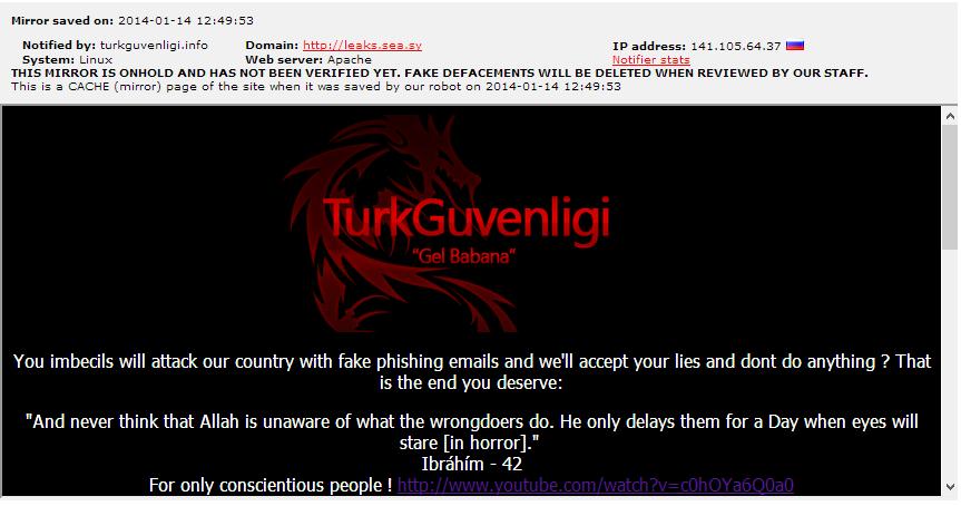 sea hacked قرصان تركي يخترق موقع الجيش السوري الإلكتروني