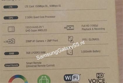 تسريب جالاكسي إس 5 تسريب علبة جالاكسي إس 5 يؤكد قدومه بشاشة QHD وكاميرا 20 ميجا بيكسل!