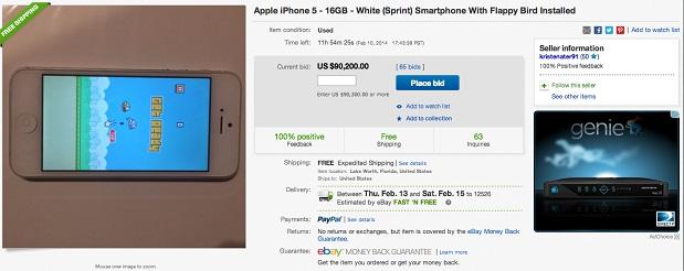 Screen Shot 2014 02 10 at 8.49.518 AM آيفون 5 للبيع بسعر 90 ألف دولار والسبب .. وجود لعبة Flappy Bird بداخله!