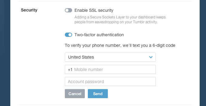 Tumblr optional two-factor authentication