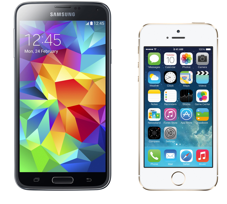 مقارنة بين الهاتفين الذكيين Samsung Galaxy S5 و Iphone 5s