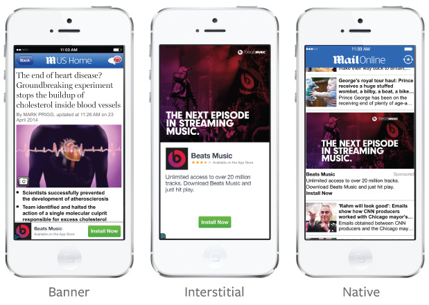 standard IAB banners, standard IAB interstitials, and native ad units.