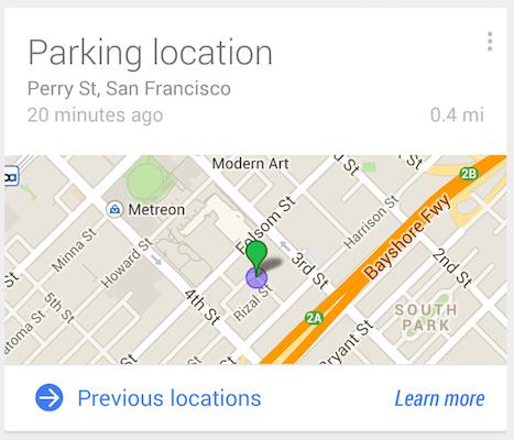 Google Now : تستطيع الآن تذكيرك بمكان سيارتك Location