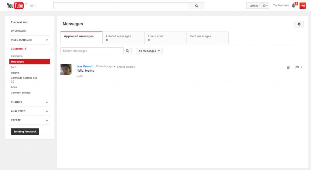 رسائل يوتيوب