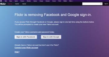 فليكر توقف تسجيل الدخول عبر حساب فيس بوك أو قوقل