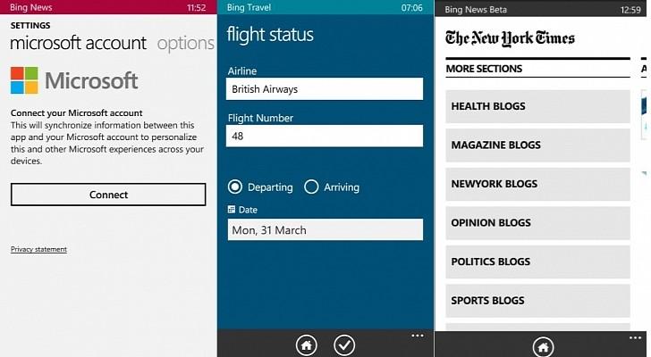 تطبيقات بينج تطبيقات بينج تحصل على تسجيل الدخول المُوحَّد على ويندوز فون 8.1