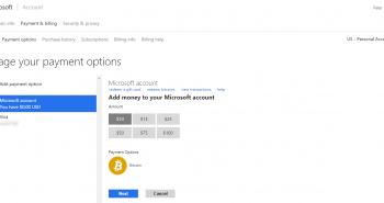 مايكروسوفت تدعم شحن الحساب بالبتكوين